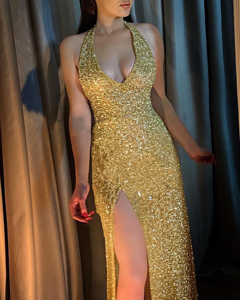 Glitter Halter High Slit Dress фото