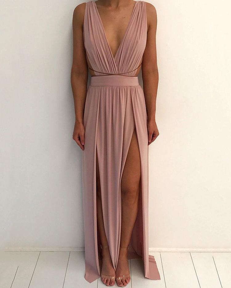 Глубокий V-Образным Вырезом На Бретелях С Открытой Спиной Высокий Разрез Макси Платье