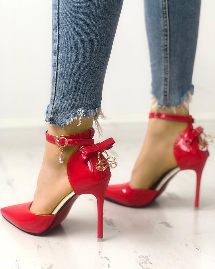 chicme / Sexy Bowknot Ankle Strap Peep Toe Sapatos de salto alto