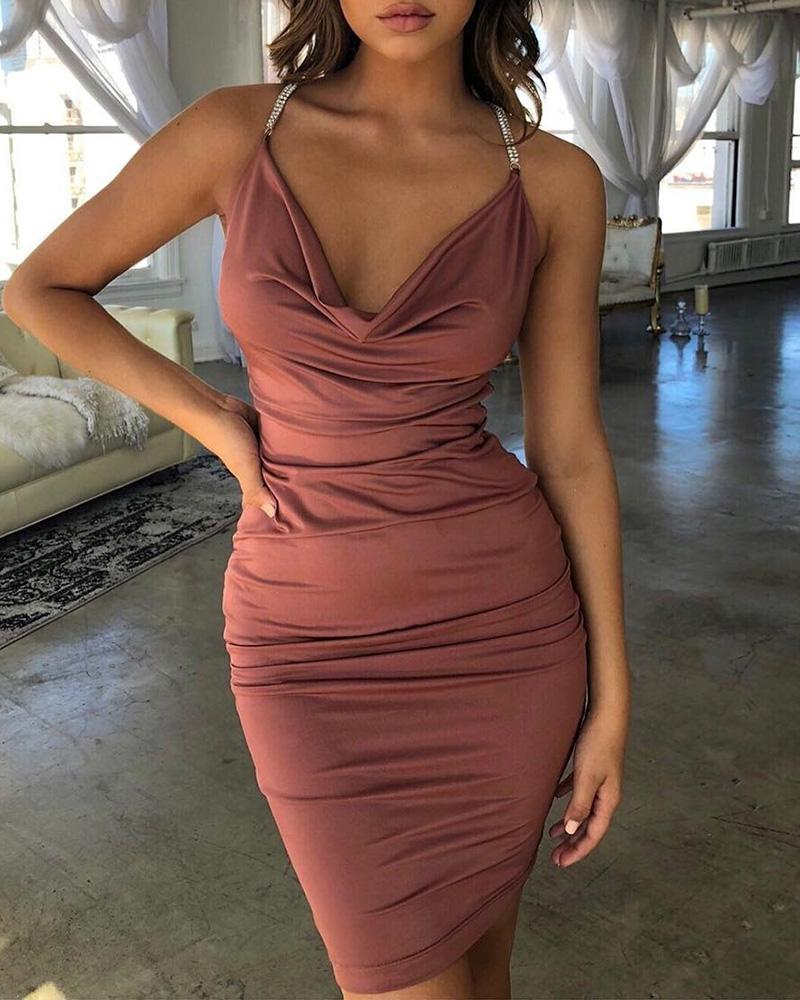 Open Back Cowl Neck Bodycon Dress фото