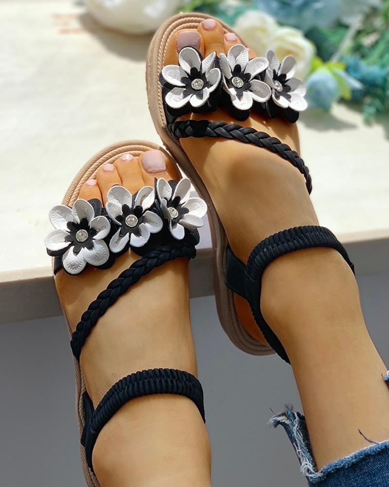 Flower Embellished Stud Braided Detail Sandals фото
