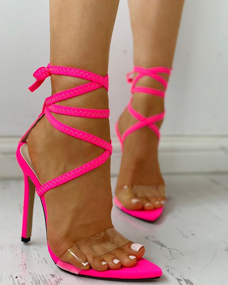 Transparent Strap Lace-Up Thin Heeled Sandals, joyshoetique, hot pink  - buy with discount