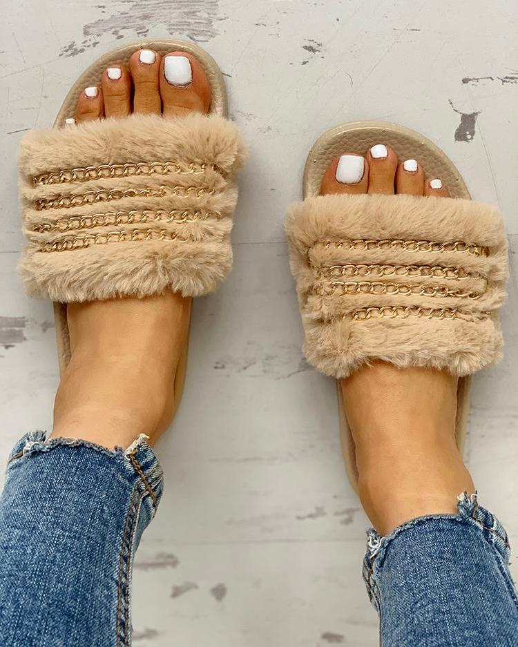 chicme / Fluffy Chain Detail Open Toe Slippers