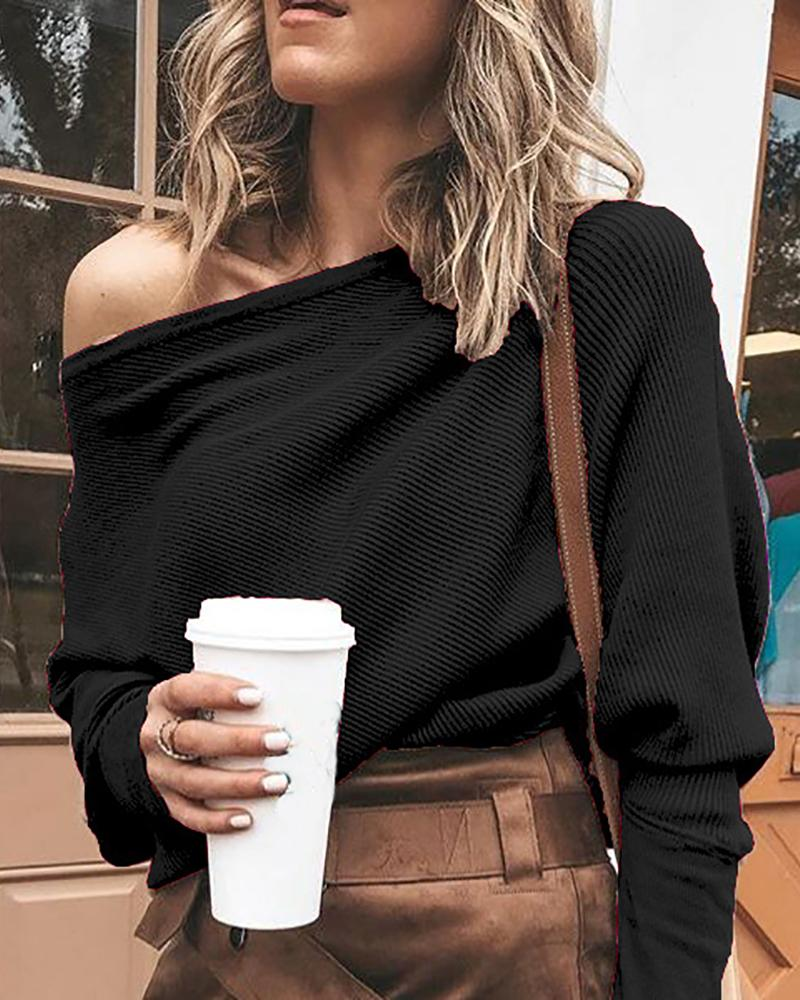 Solid One Shoulder Batwing Sleeve T-Shirt фото