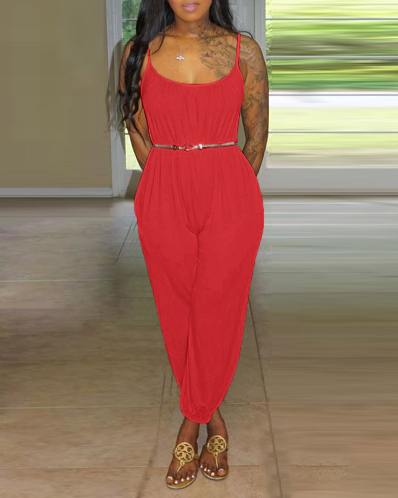 Solid Tied Cuffed Casual Jumpsuit фото