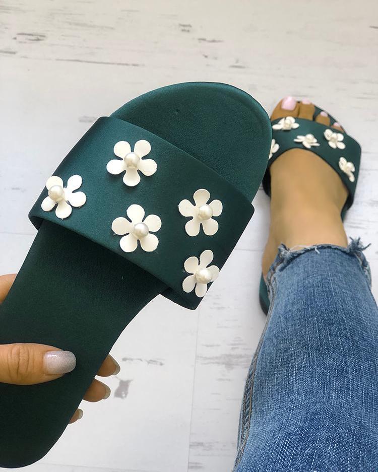 Floral Embellished Single Strap Flat Sandals