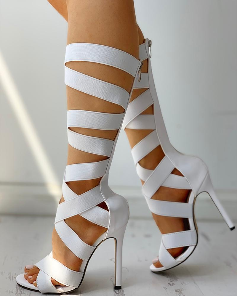 Bandage Lace-Up Zipper Back Thin Heels фото