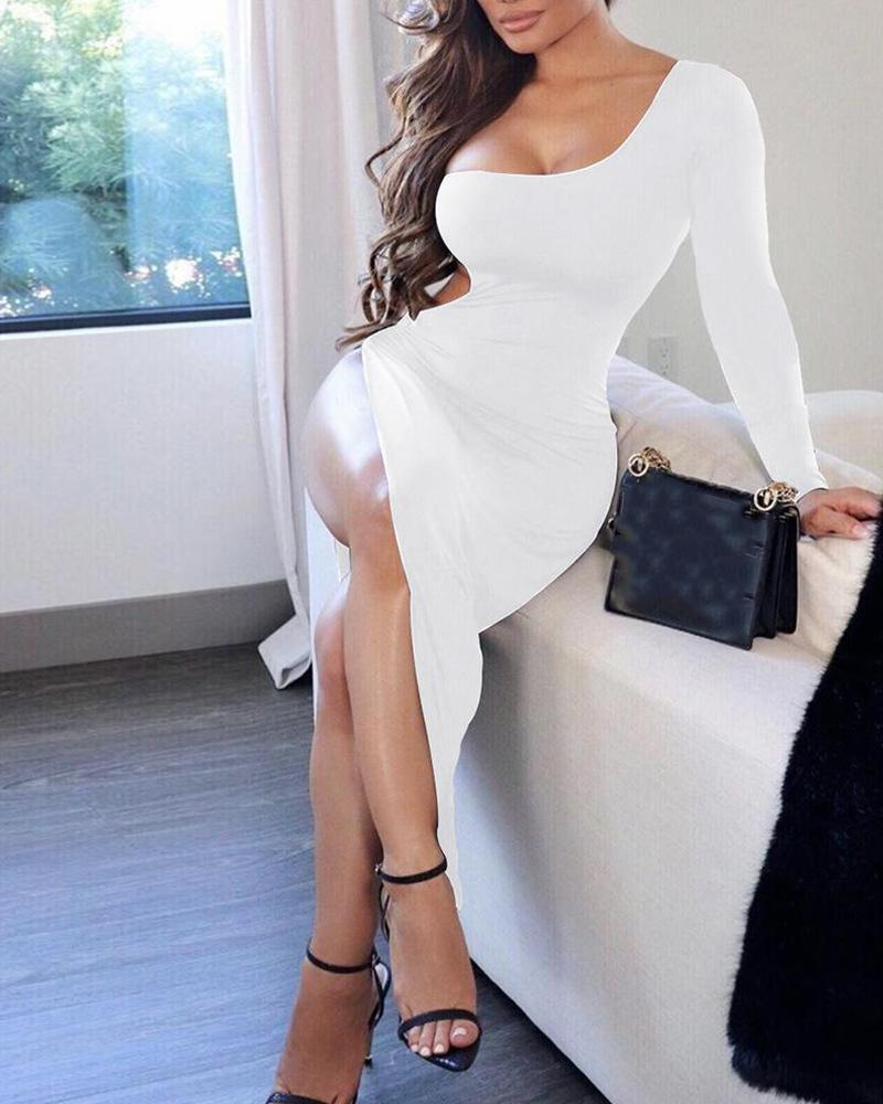 Solid One Shoulder Cut Out Dress, White