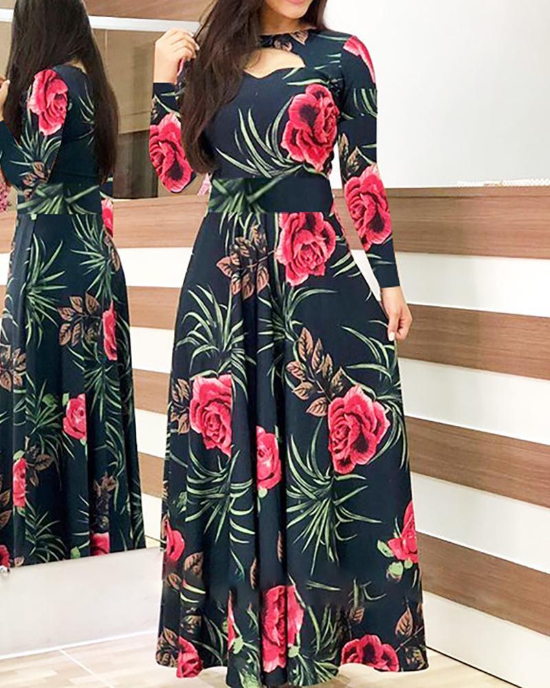 boutiquefeel / Vestido estampado floral de manga comprida