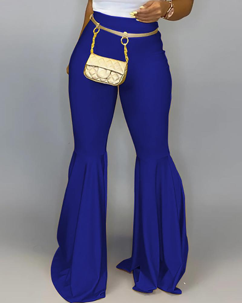 Solid High Waist Bell-bottomed PU Pants фото