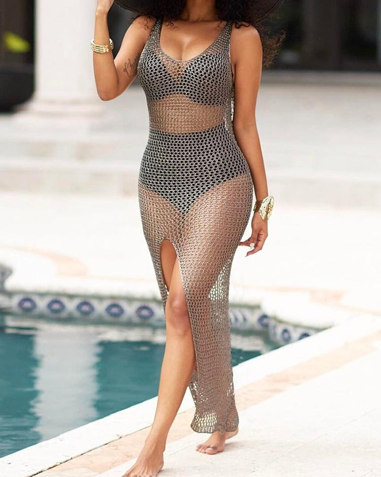 Seductive Transparent Mesh High Slit Maxi Dress фото