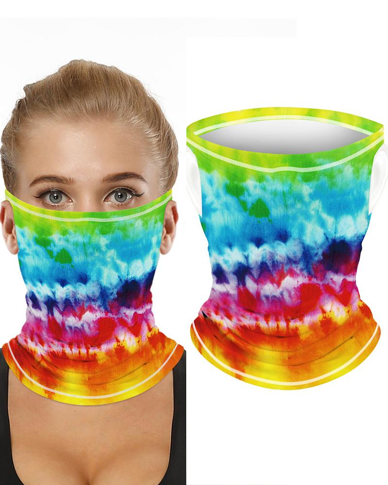 Tie Dye Print Breathable Ear Loop FaceBandana Headwrap фото