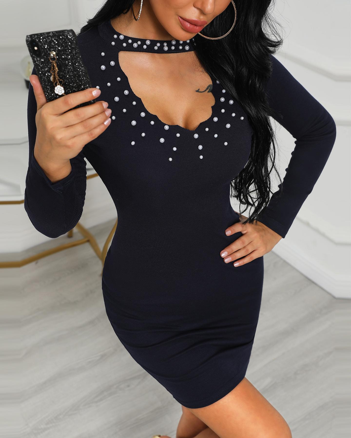 Beaded Detail Long Sleeve Bodycon Dress фото
