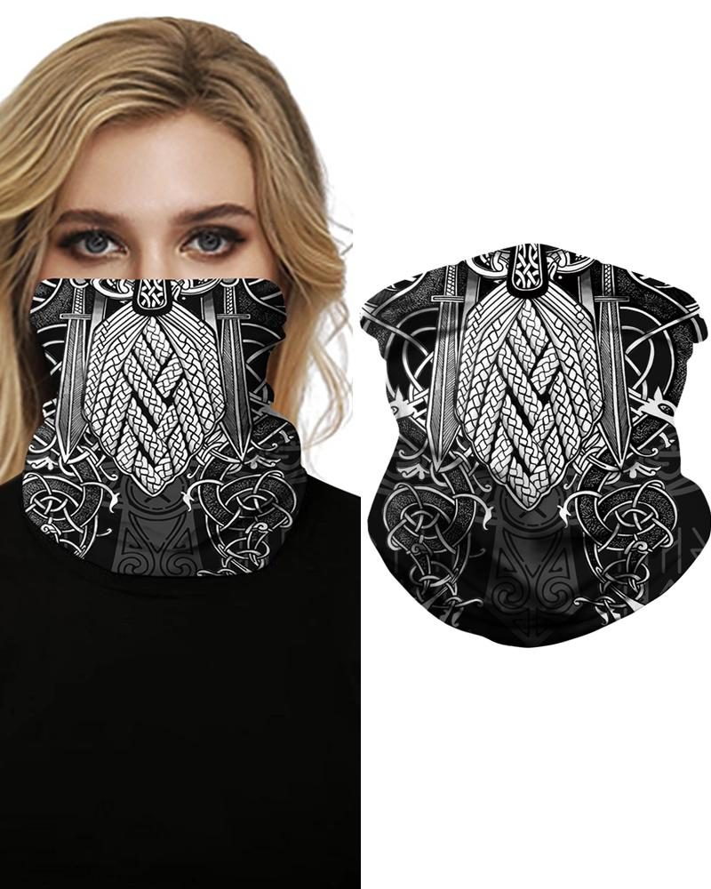 Print Face Bandana Magic Scarf Headwrap Balaclava, Gray