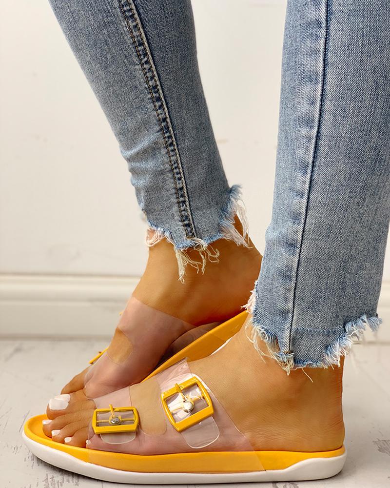 Transparent Buckle Design Flat Sandals