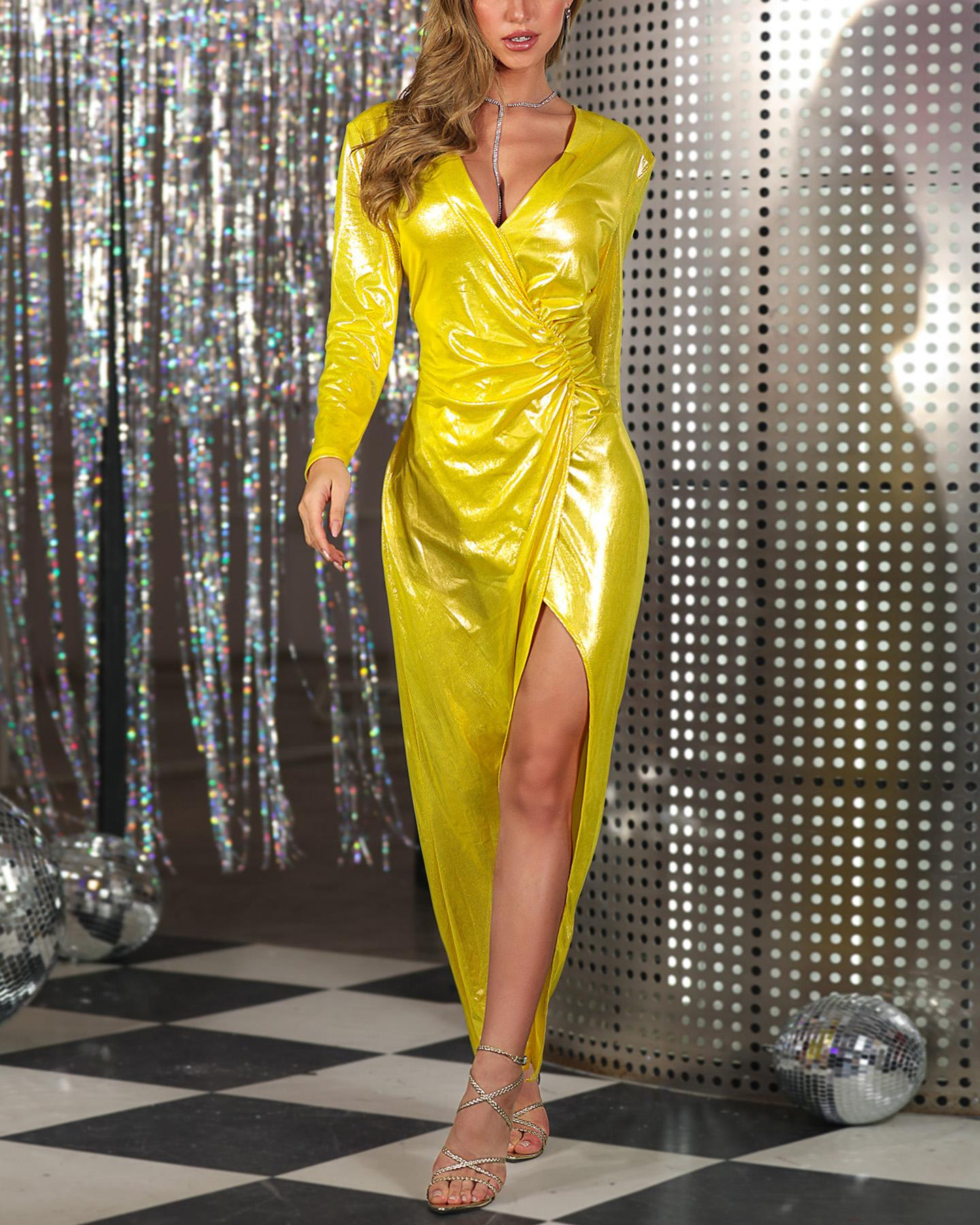 Glitter Surplice Wrap Deep V Ruched Slit Dress фото
