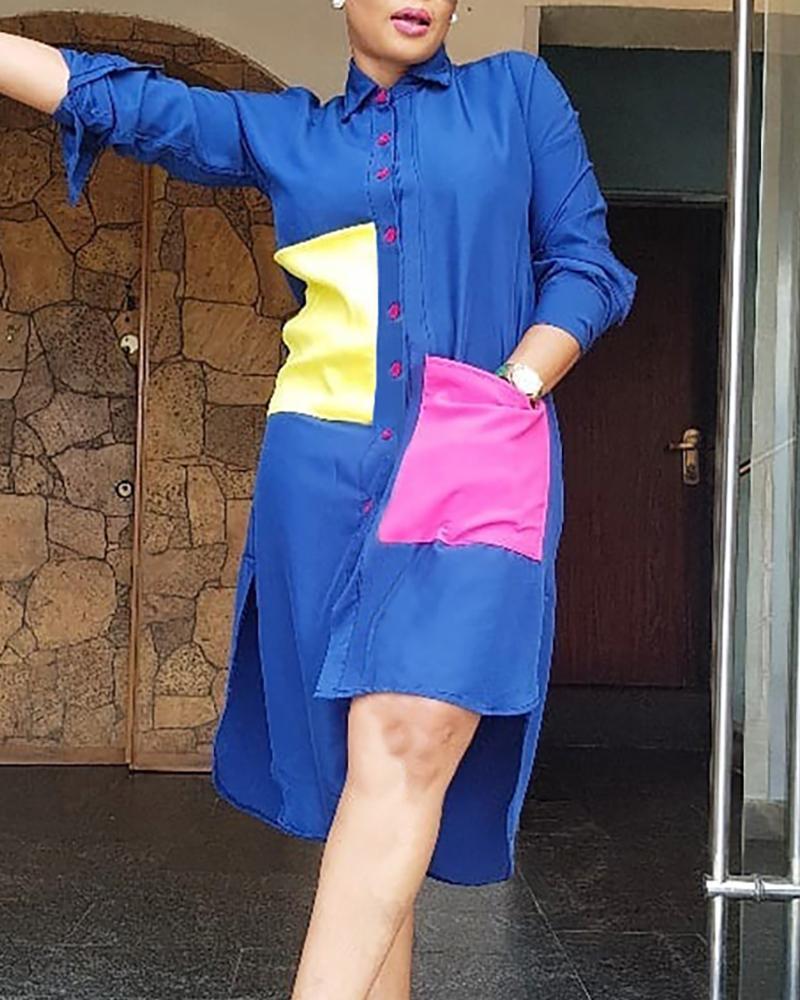 boutiquefeel / Turn-down Collar Colorblock Insert Irregular Hem Shirt Dress