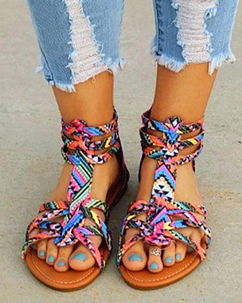 Suede Multi-Strap Crisscross Flat Sandals