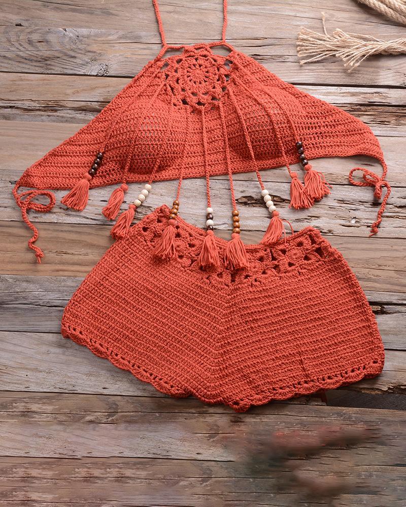 Hollow Out Bohemian Style Tassel Crochet Tankini Set фото