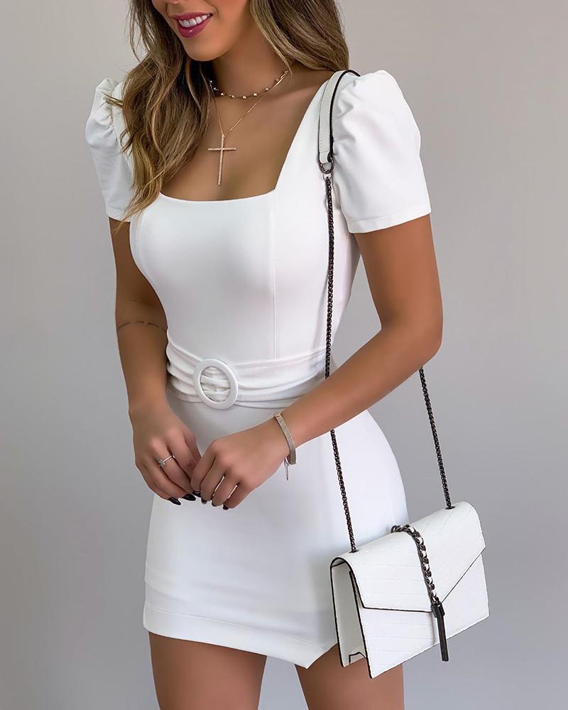 Square Neck Bodycon Mini Dress фото
