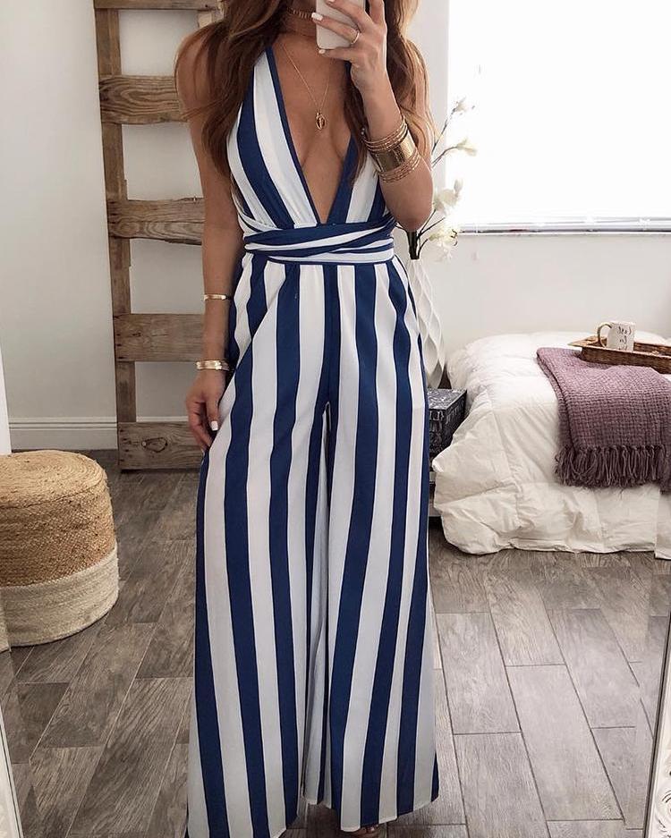 Halter Backless Vertical Striped Jumpsuit фото