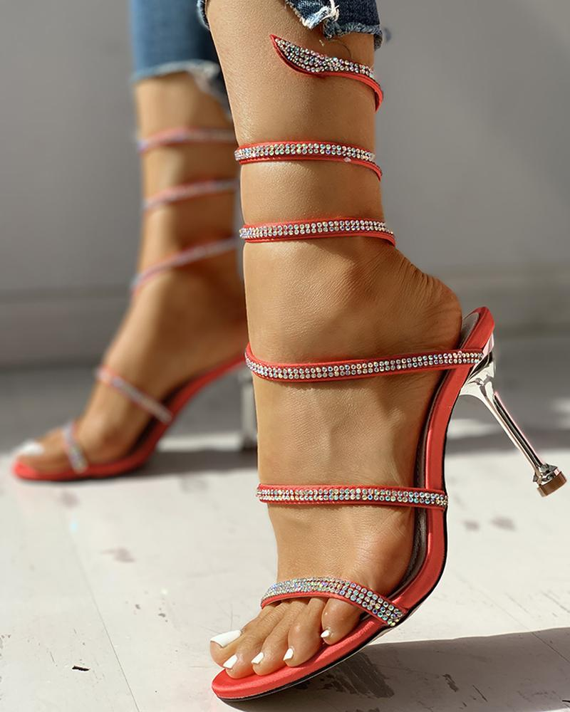 Glitter Studded Multi-strap Thin Heeled Sandals, Red