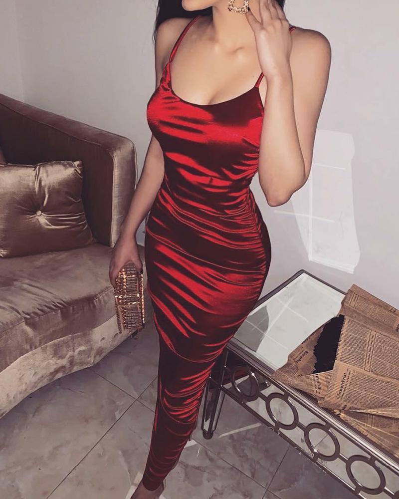 Satin Ruched Spaghetti Strap Slip Dress