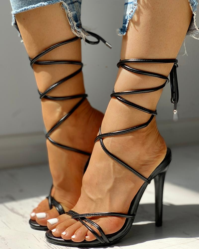 Toe Post Bandage Lace-Up Thin Heeled Sandals