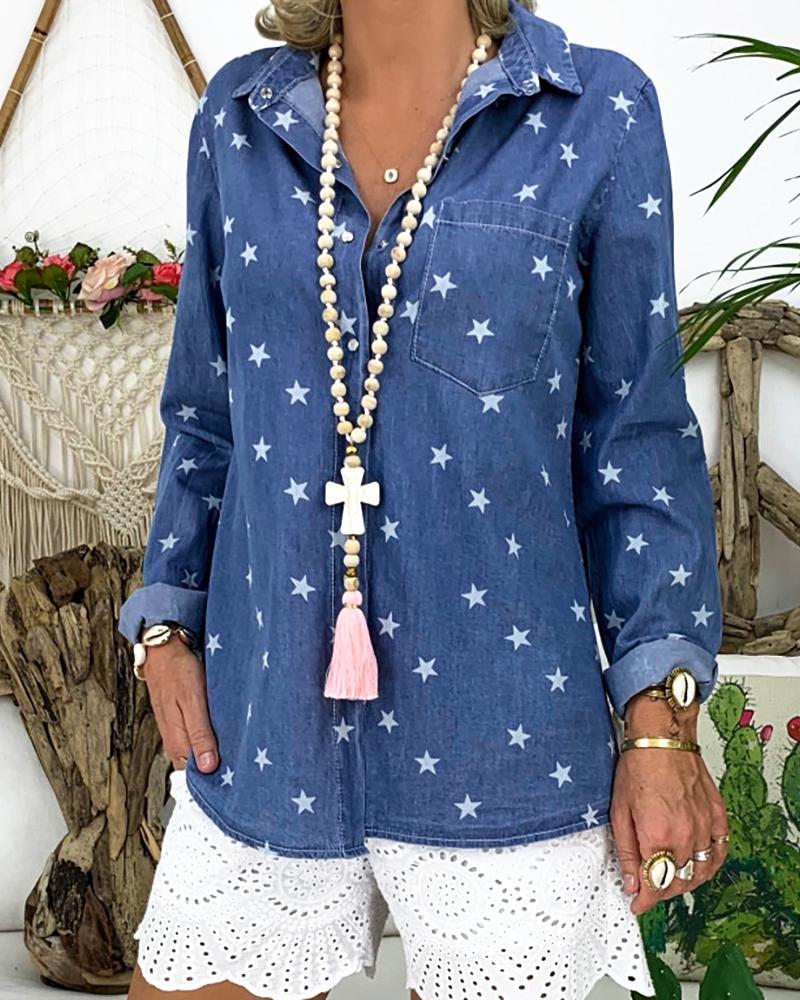 Star Print Long Sleeve Casual Shirt фото