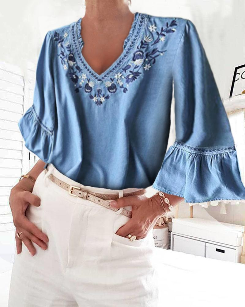 Denim Bell Sleeve Floral Embroidery Blouse фото