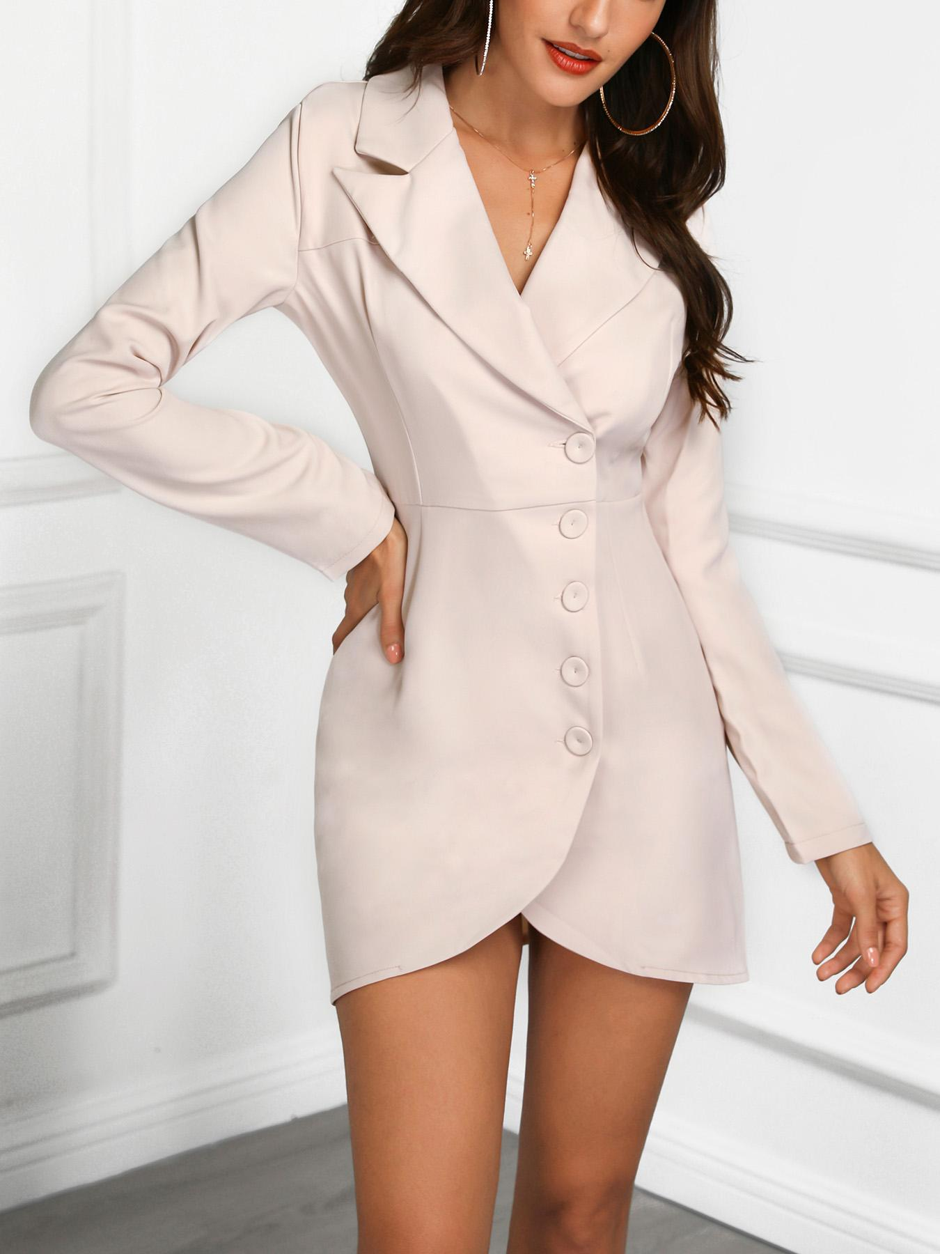 Single Breasted Tulip Hem Blazer Dress