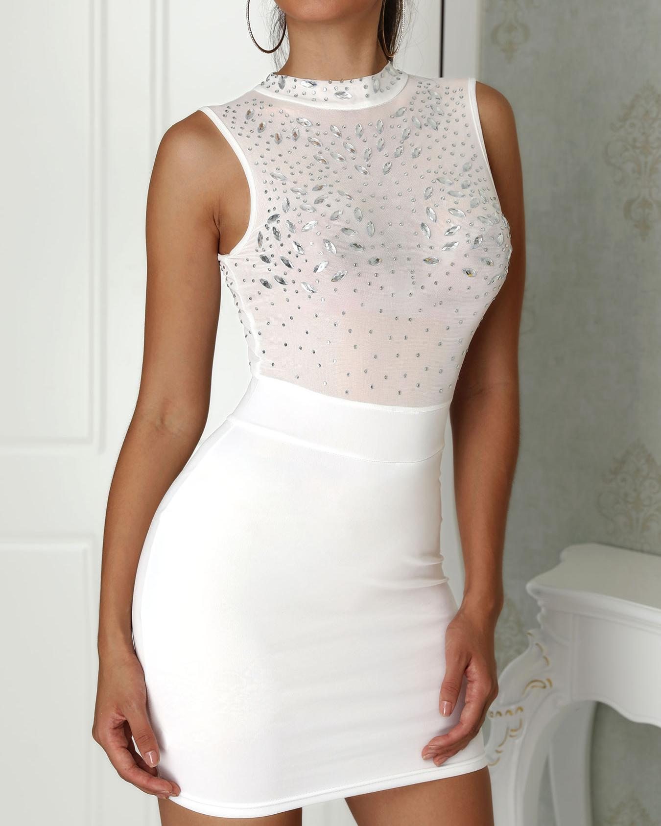Shiny Embellished Mesh Splicing Bodycon Dress фото
