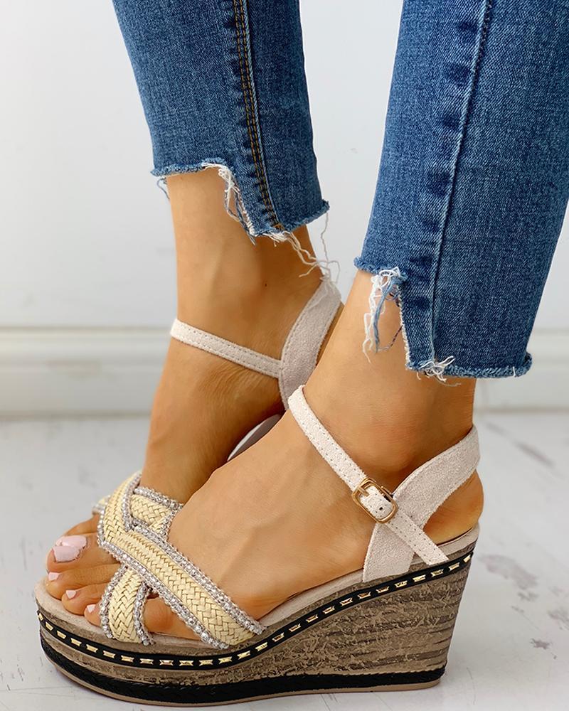 Braided Detail Platform Wedge Sandals