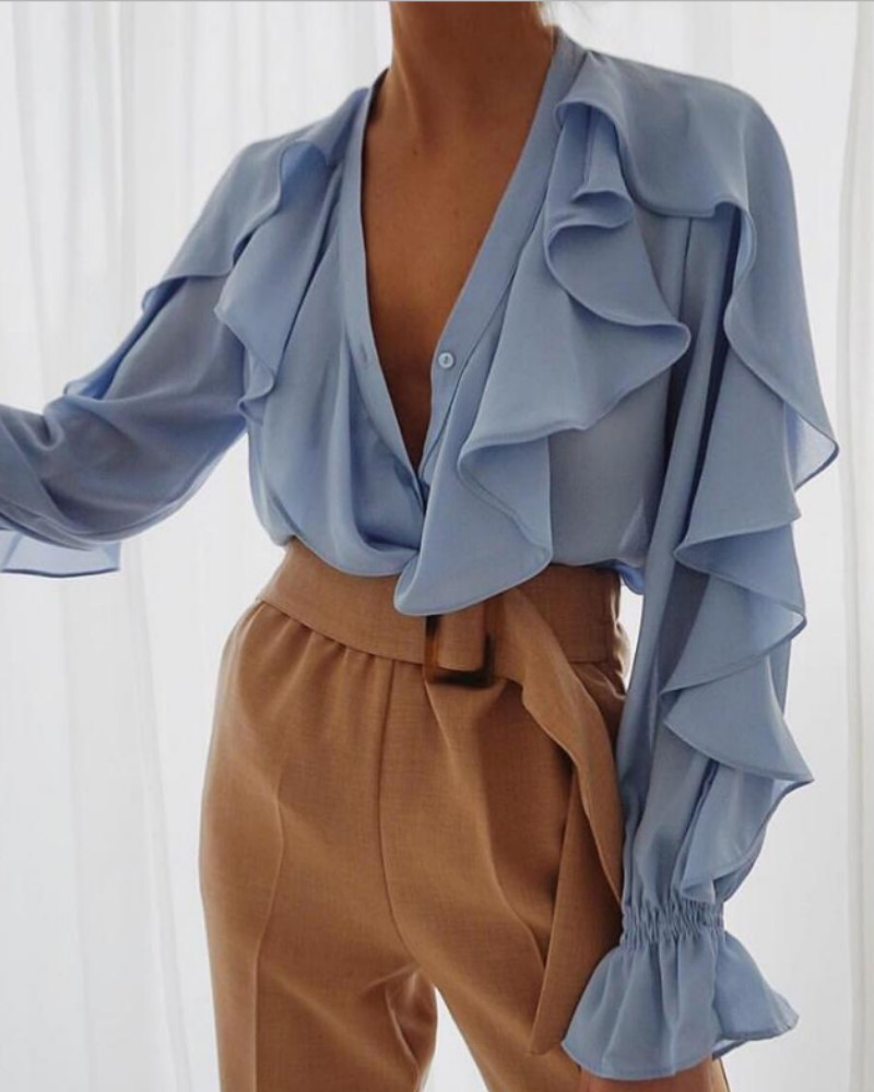 Long Sleeve Ruffles Design Blouse