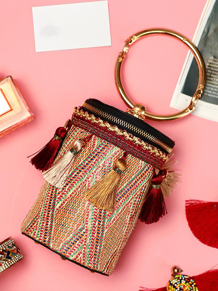 Tassel Embellished Ring Chain Bucket Handbag