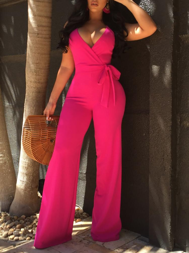 Oversize Halter Backless Belted Deep V Wrap Jumpsuit