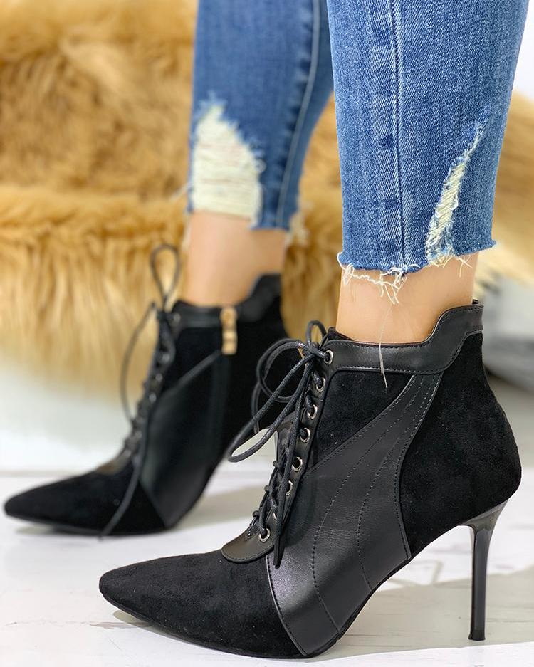 Point Toe Lace-Up Thin Heeled Boots