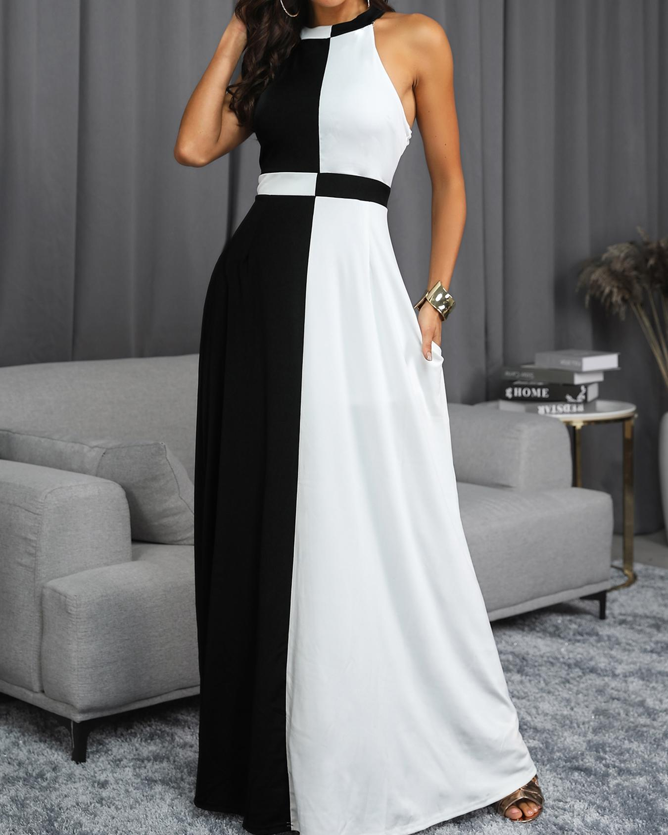 Two Tone Cut And Sew Evening Dress