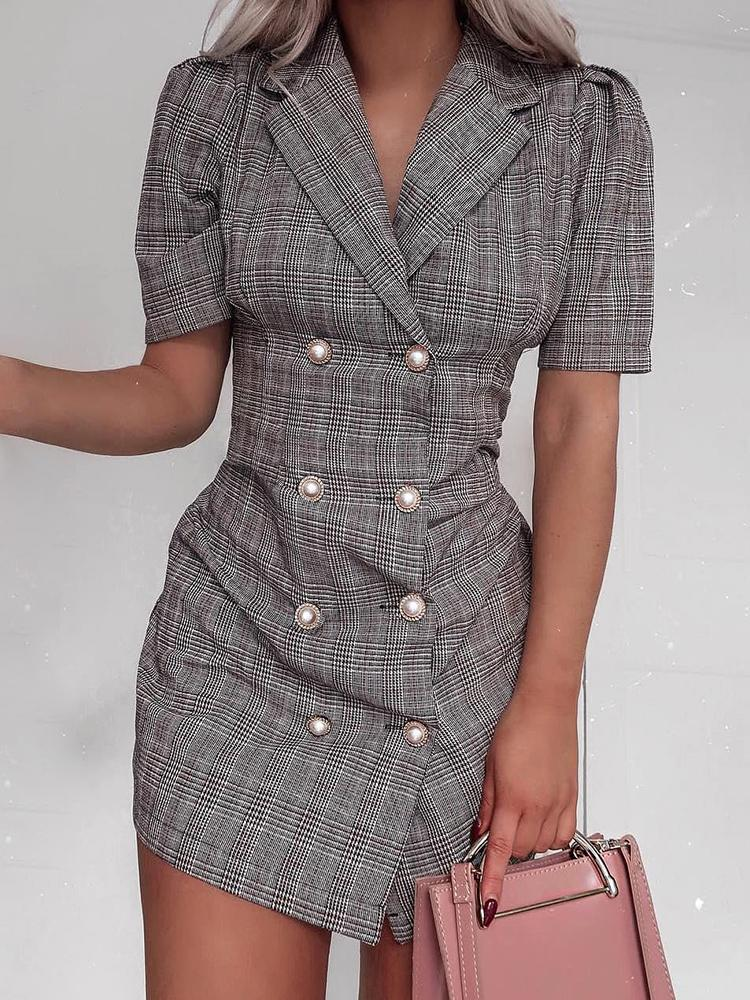 Plaid Double Breasted Blazer Dress фото