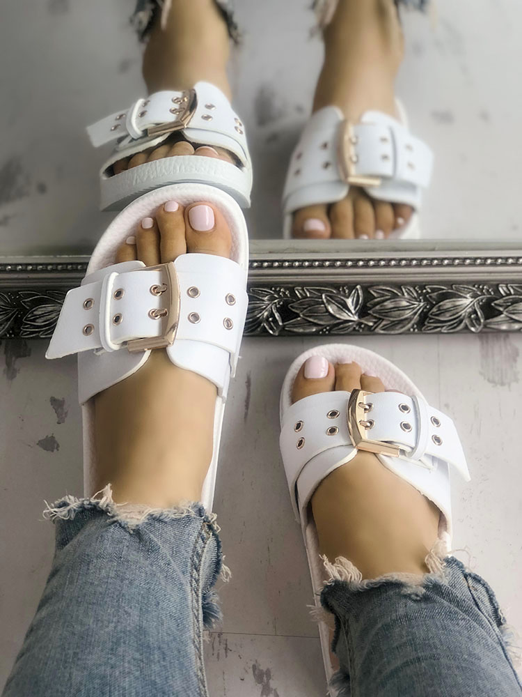 Eyelet Buckled Design Single Strap Flat Sandals