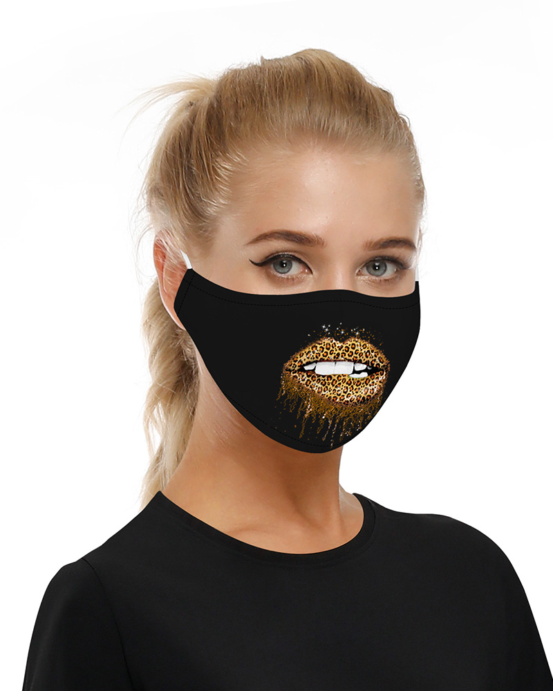 Lip Print Mouth Mask Breathable Washable And Reusable фото