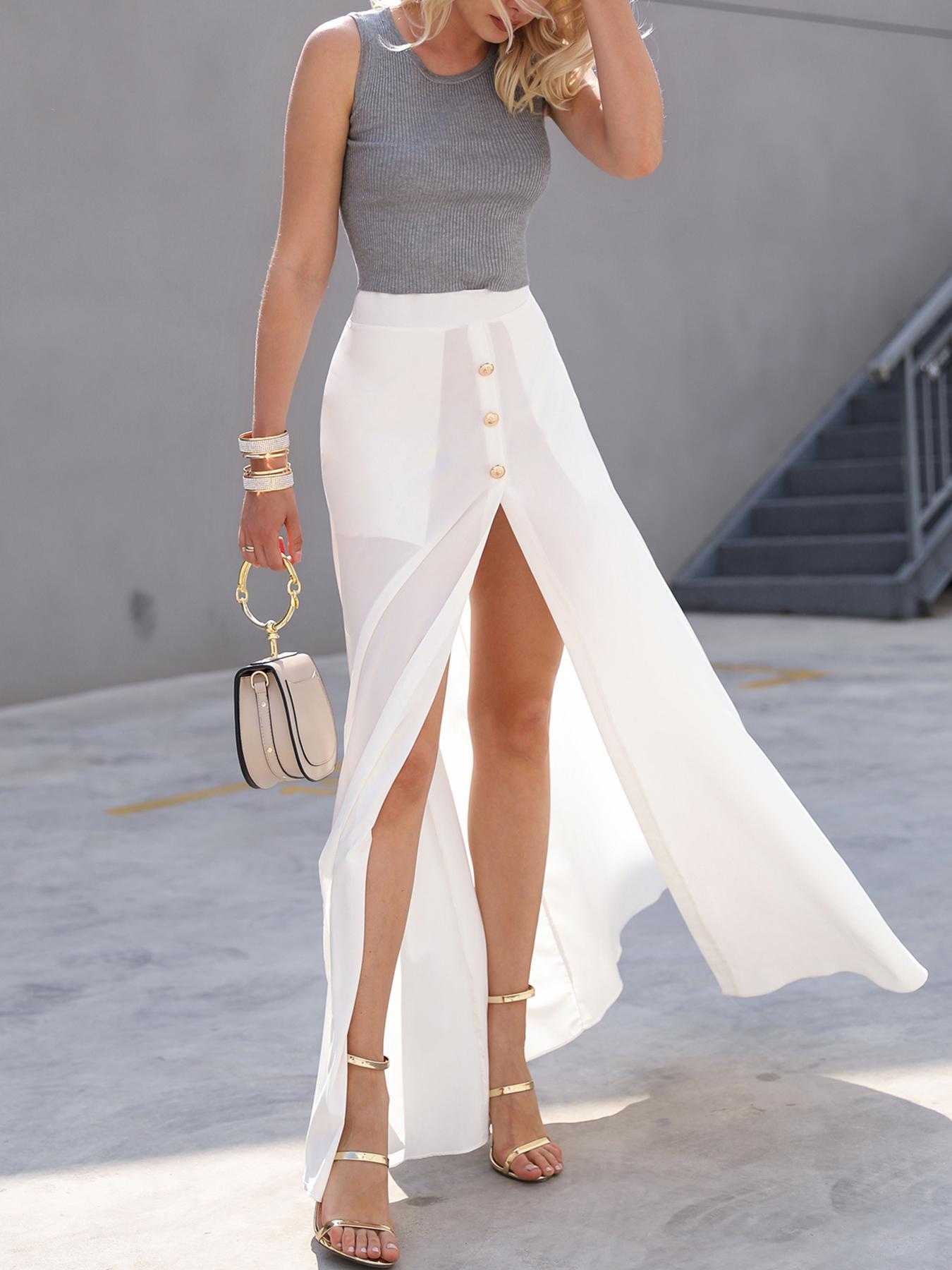White Chiffon Button Design High Slit Skirt