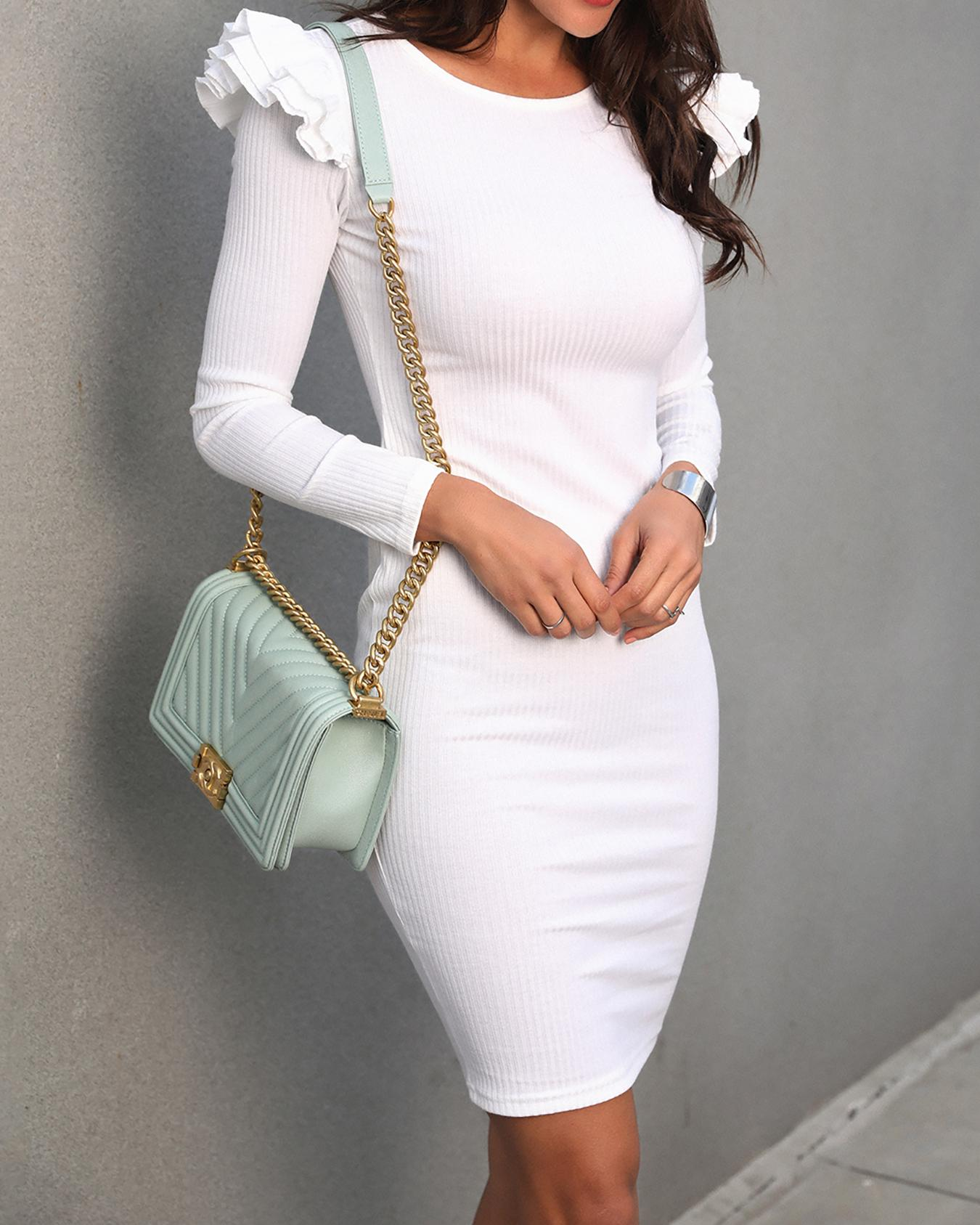Solid Layered Flounced Bodycon Dress