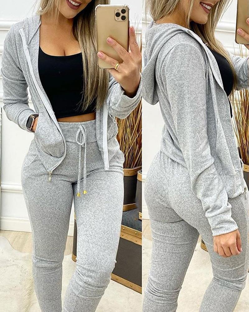 Long Sleeve Hooded Zipper Design Coat & Pants Set