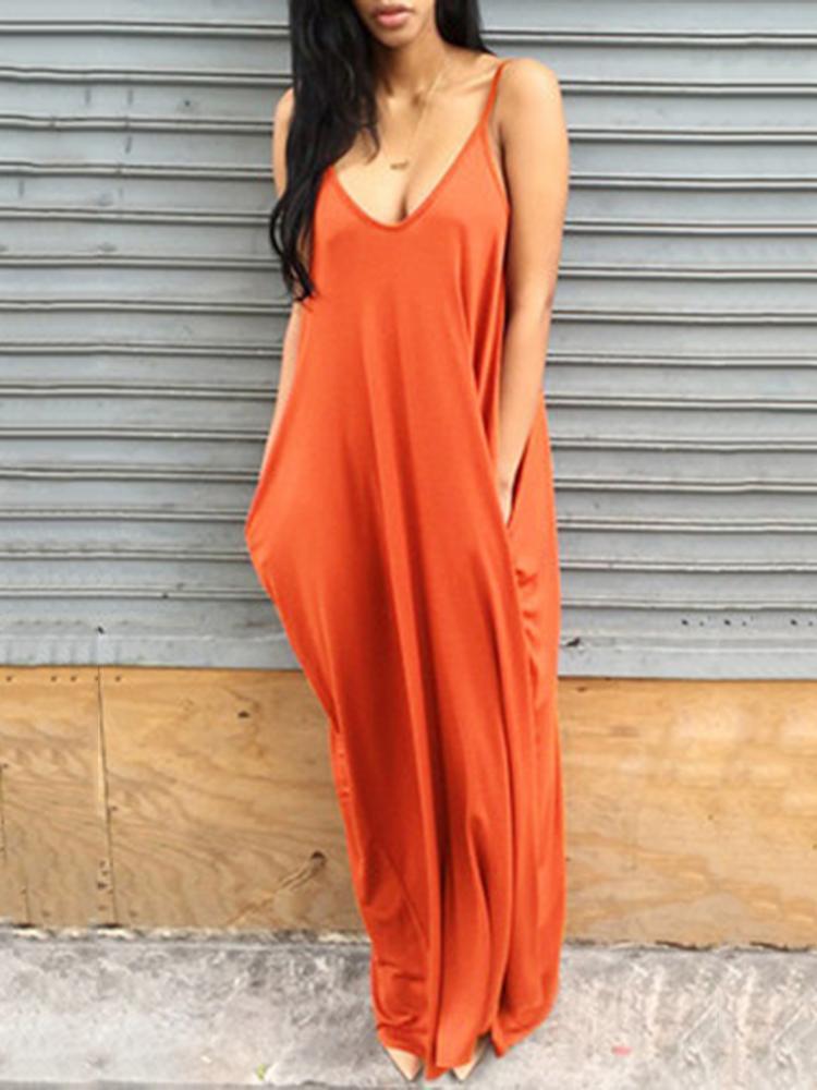 V Neck Solid Casual Maxi Dresses