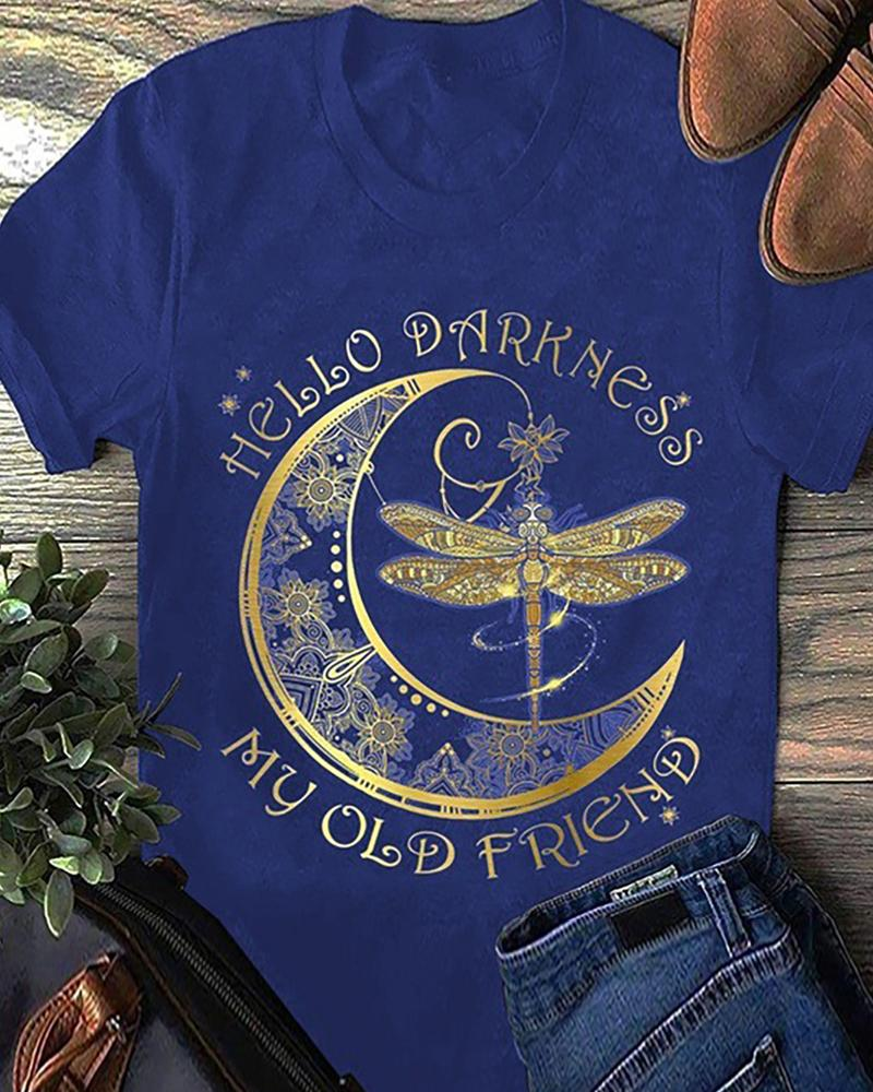 Dragonfly/Moon/Letter Print Short Sleeve Casual T-shirt фото