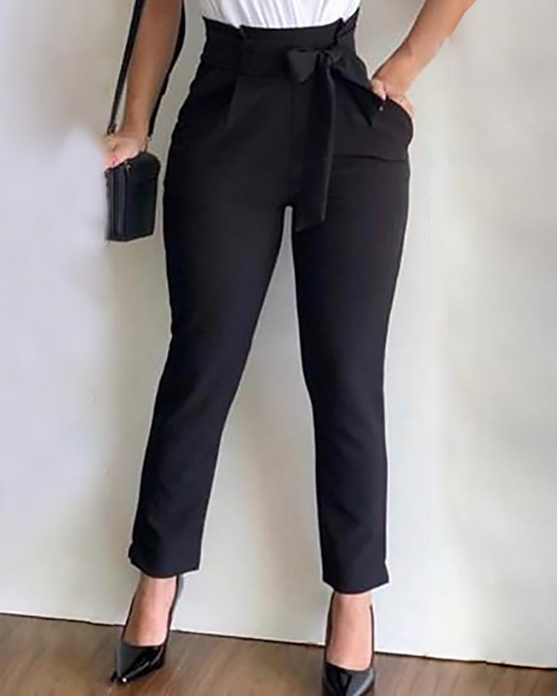 chicme / High Waist Paperbag Waist Casual Pants