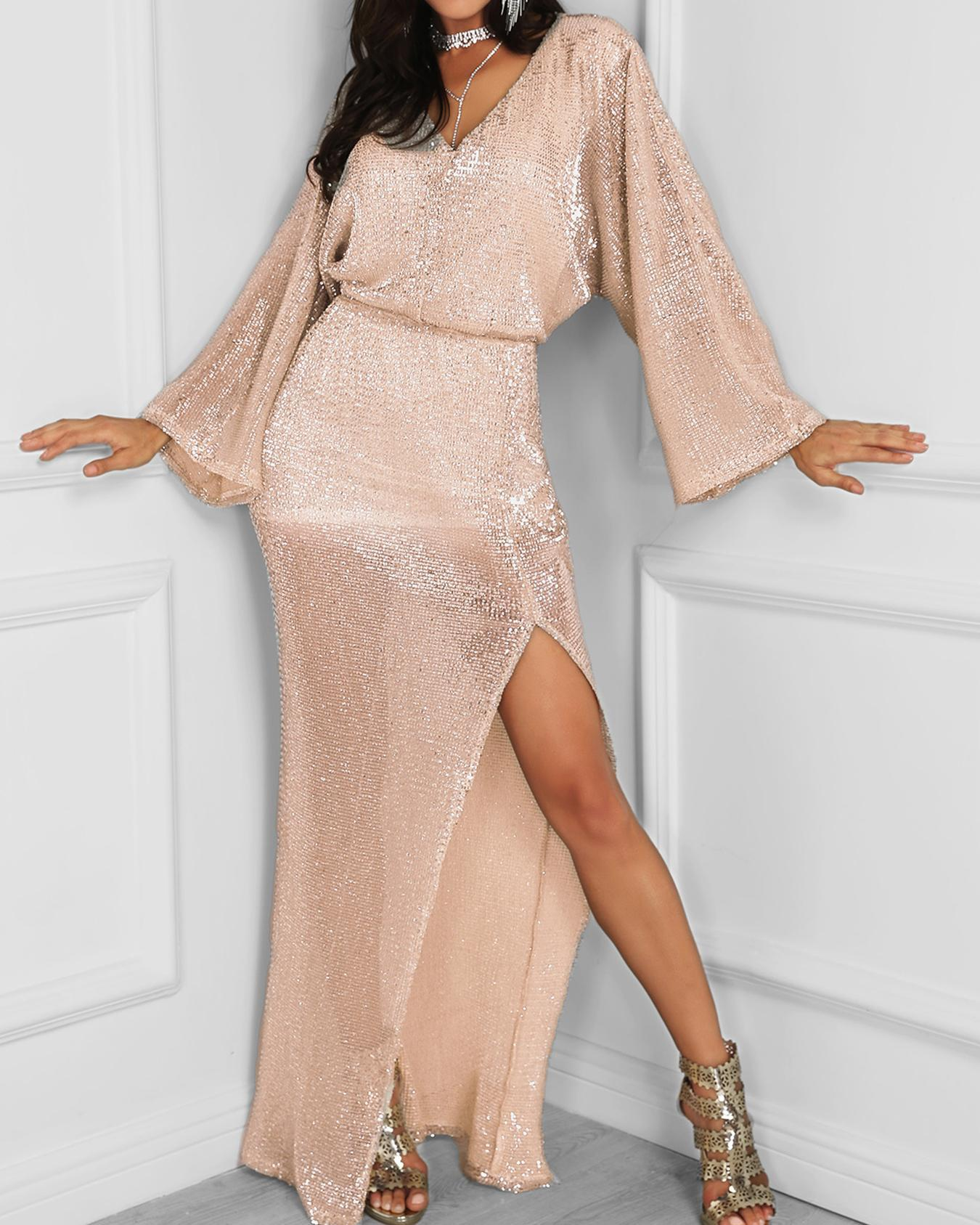 Bat-Wing Sleeve Thigh Slit Sequin Party Dress