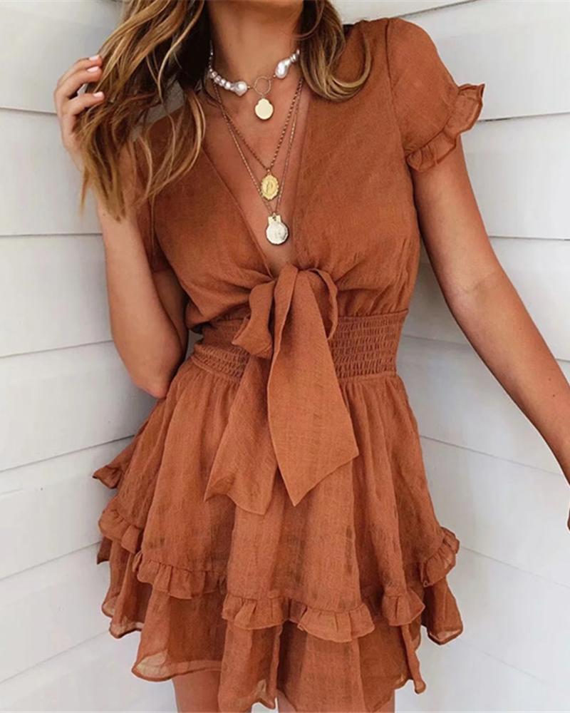 ivrose / Knot Front Shirring Waist Frill Hem Ruffles Casual Dress
