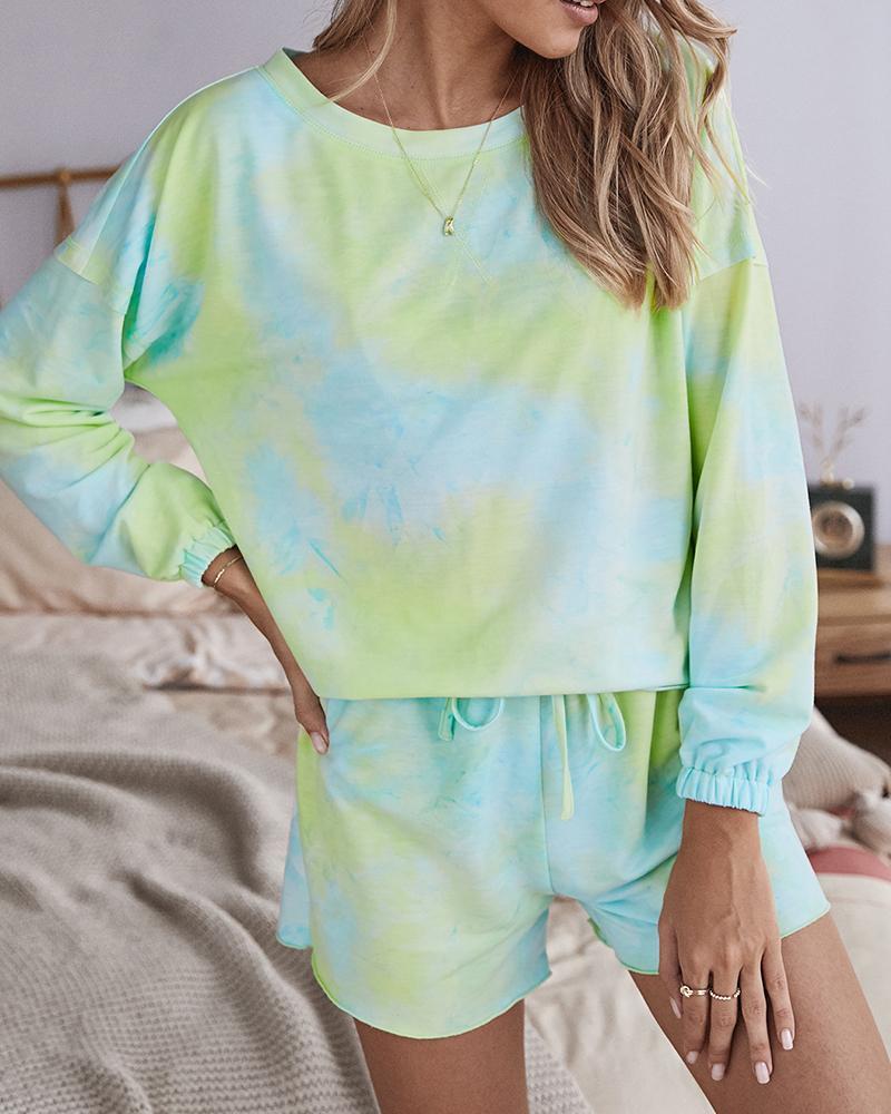 Tie Dye Print Frill Hem Drawstring Pajamas Set фото